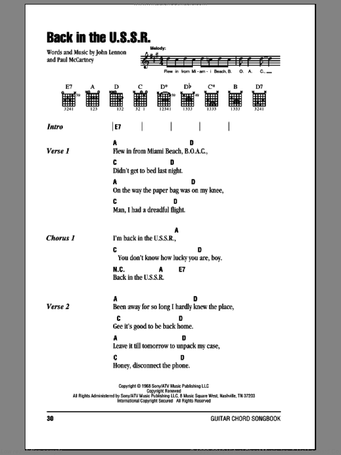 Back In The U.S.S.R. sheet music for guitar (chords) by Paul McCartney, The Beatles and John Lennon. Score Image Preview.