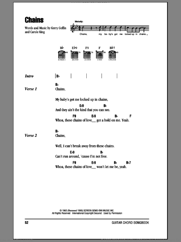 Chains sheet music for guitar (chords) by The Beatles, Carole King and Gerry Goffin, intermediate. Score Image Preview.