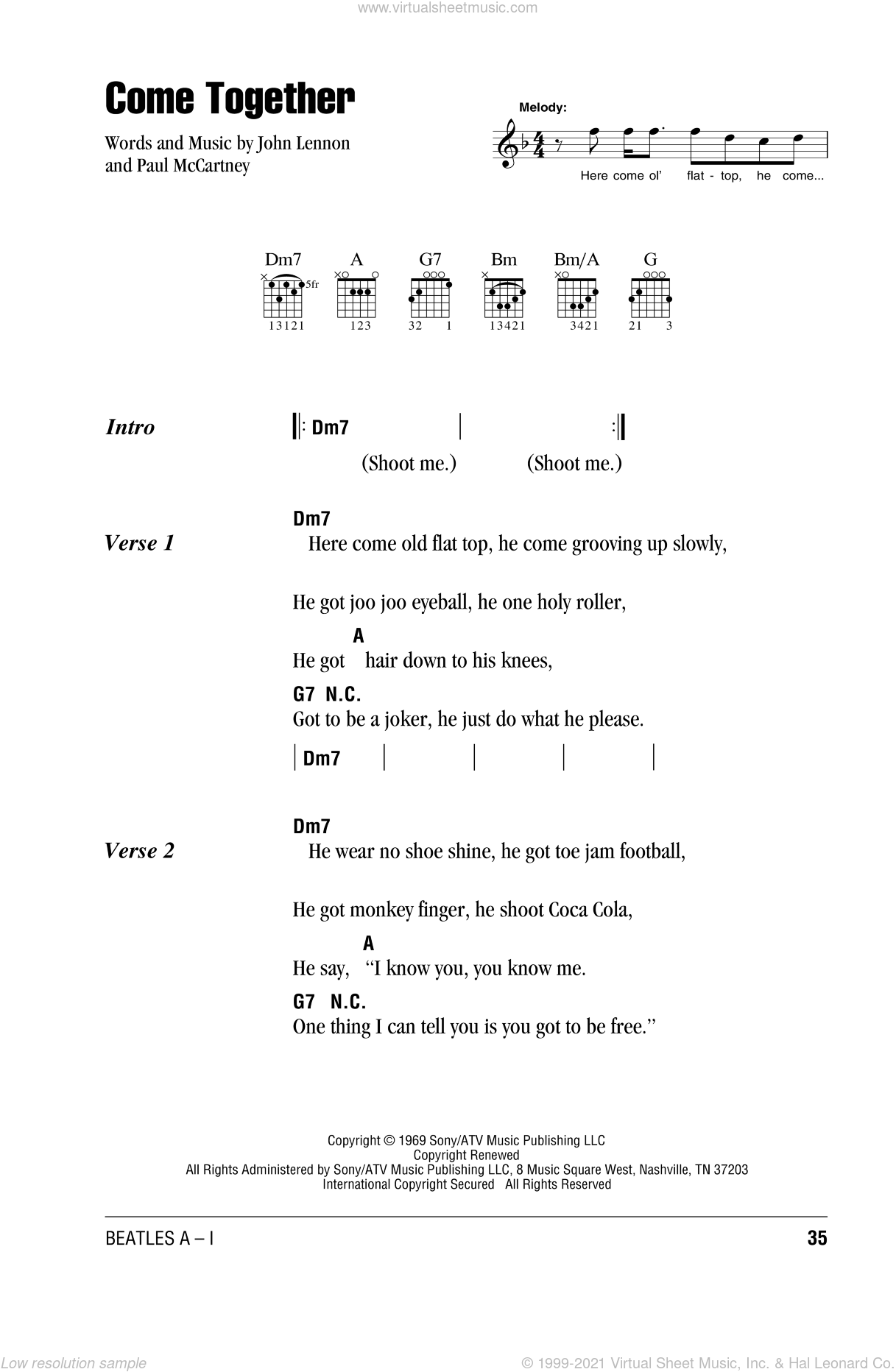 Come Together sheet music for guitar (chords) by Paul McCartney