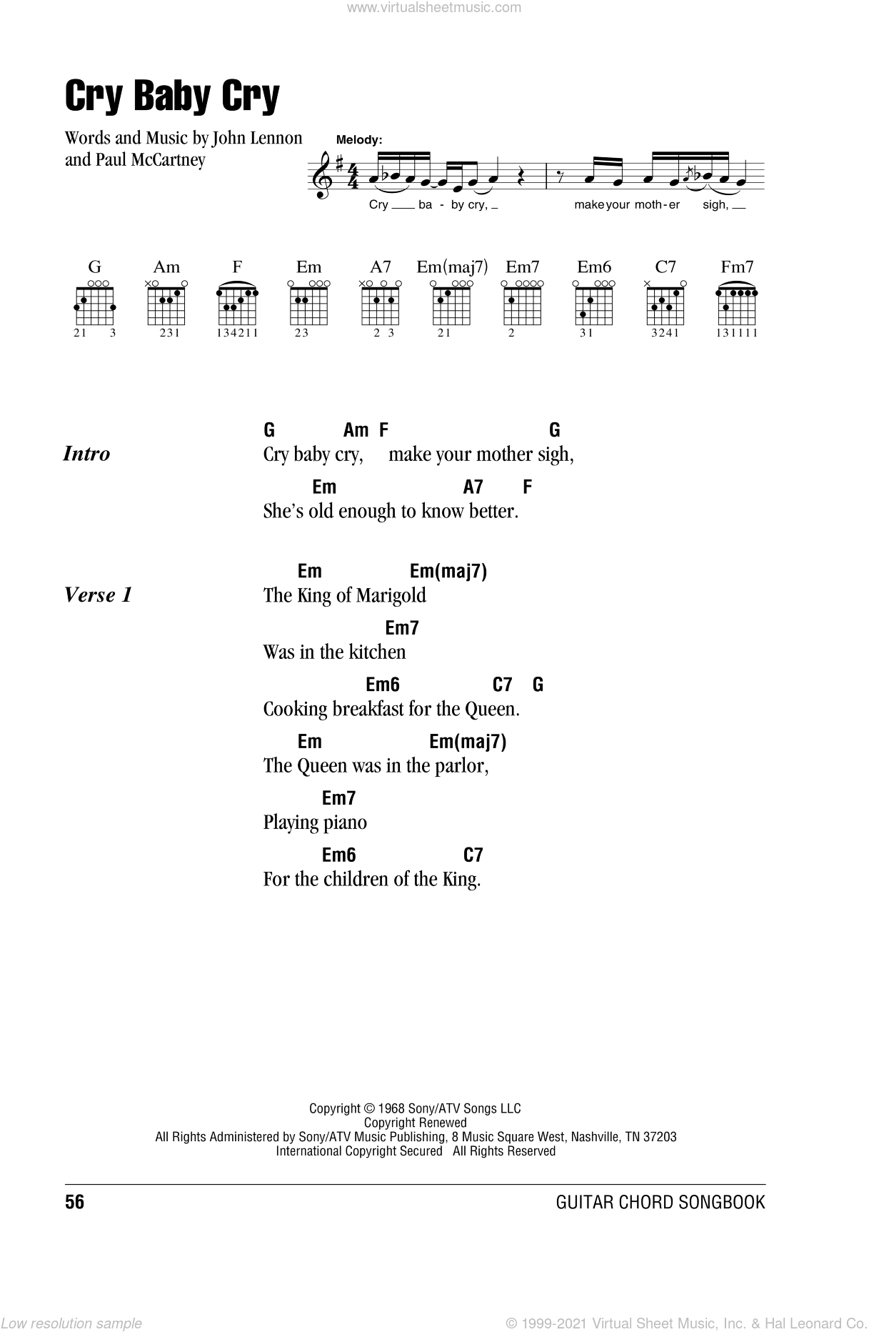 Cry Baby Cry sheet music for guitar (chords) by The Beatles, John Lennon and Paul McCartney, intermediate skill level