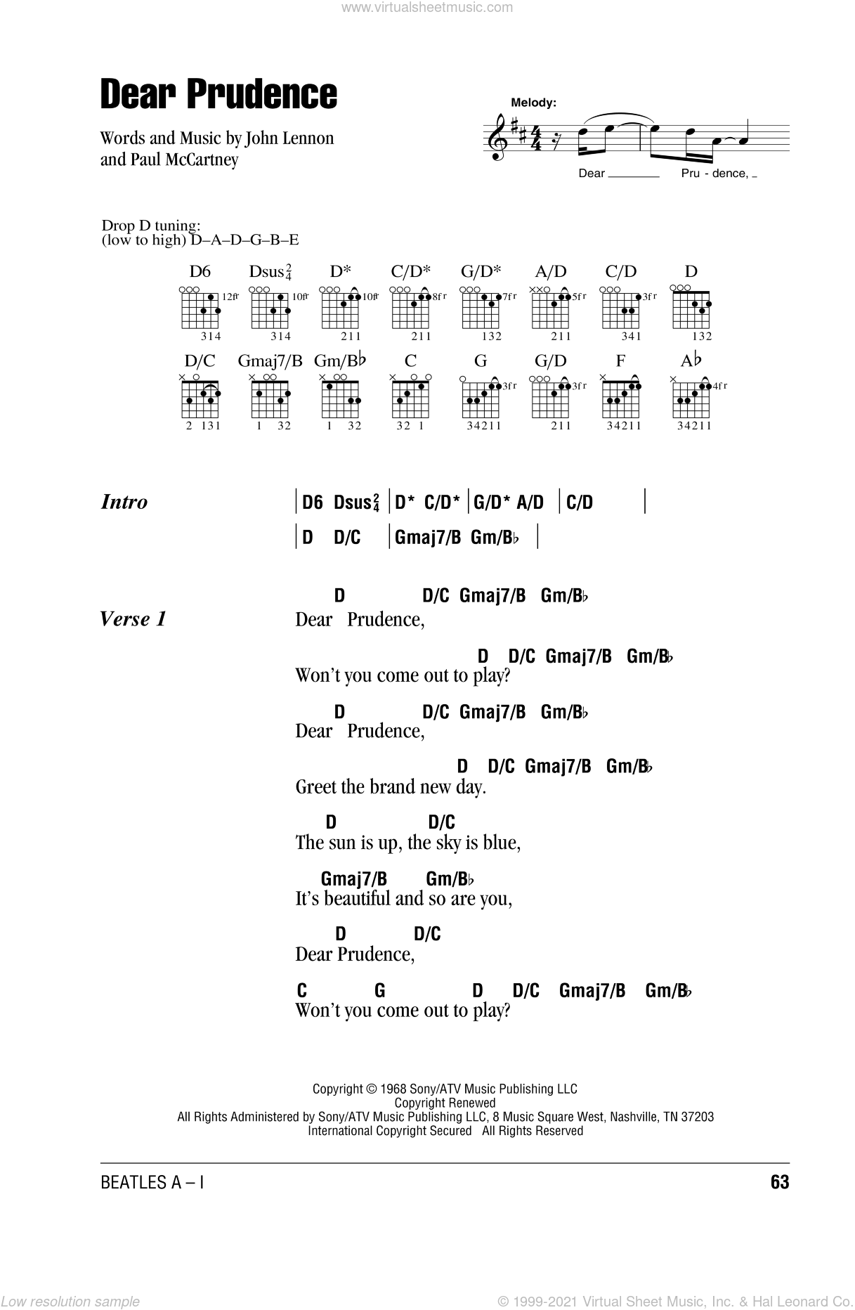 Dear Prudence sheet music for guitar (chords) by The Beatles, John Lennon and Paul McCartney, intermediate. Score Image Preview.