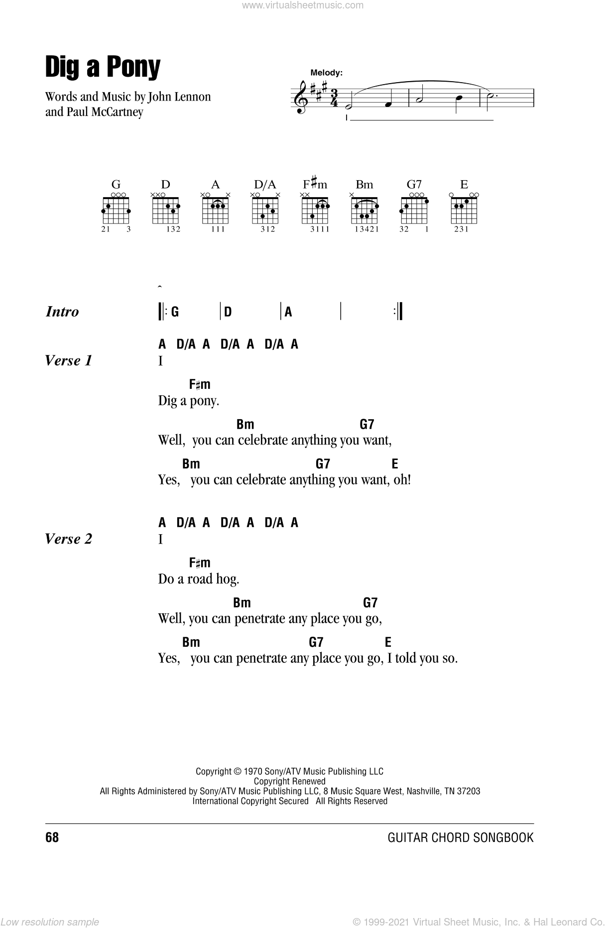 Dig A Pony sheet music for guitar (chords) by The Beatles, John Lennon and Paul McCartney, intermediate skill level