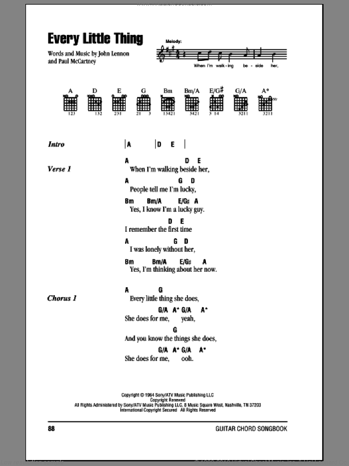 Every Little Thing sheet music for guitar (chords) by The Beatles, John Lennon and Paul McCartney, intermediate skill level