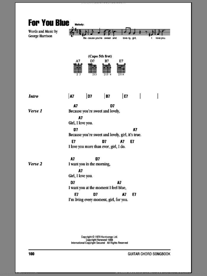 For You Blue sheet music for guitar (chords) by The Beatles and George Harrison, intermediate. Score Image Preview.