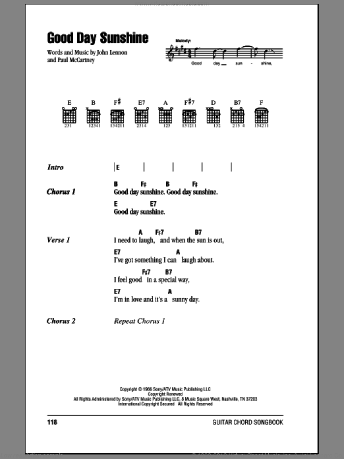Good Day Sunshine sheet music for guitar (chords) by Paul McCartney, The Beatles and John Lennon. Score Image Preview.