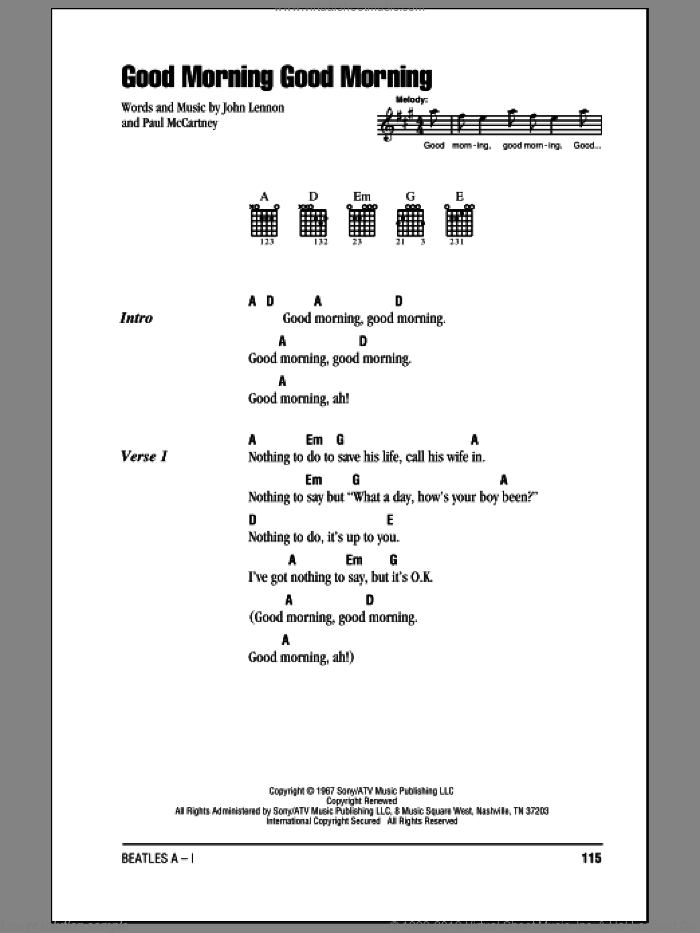 Good Morning Good Morning sheet music for guitar (chords) by Paul McCartney, The Beatles and John Lennon. Score Image Preview.