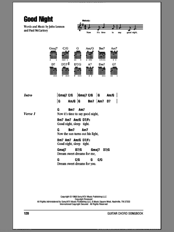 McCartney - Good Night sheet music for guitar (chords)