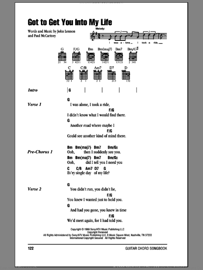 Got To Get You Into My Life sheet music for guitar (chords) by Paul McCartney, The Beatles and John Lennon. Score Image Preview.
