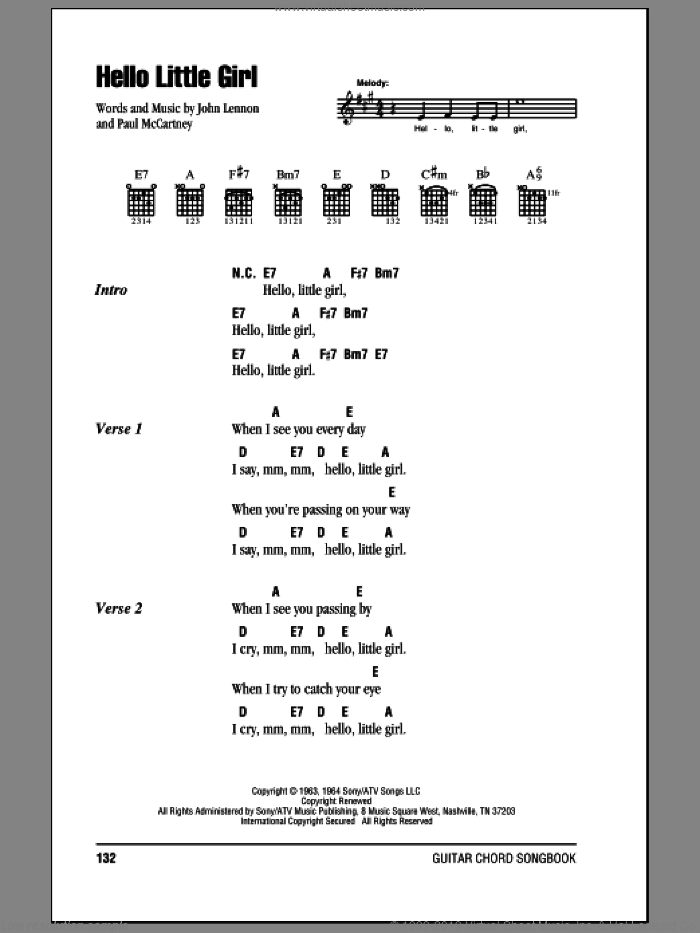 Hello Little Girl sheet music for guitar (chords) by Paul McCartney, The Beatles and John Lennon. Score Image Preview.