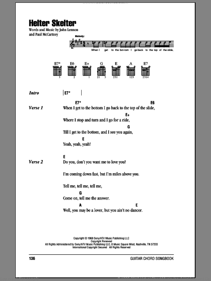 Helter Skelter sheet music for guitar (chords) by The Beatles, John Lennon and Paul McCartney, intermediate guitar (chords). Score Image Preview.