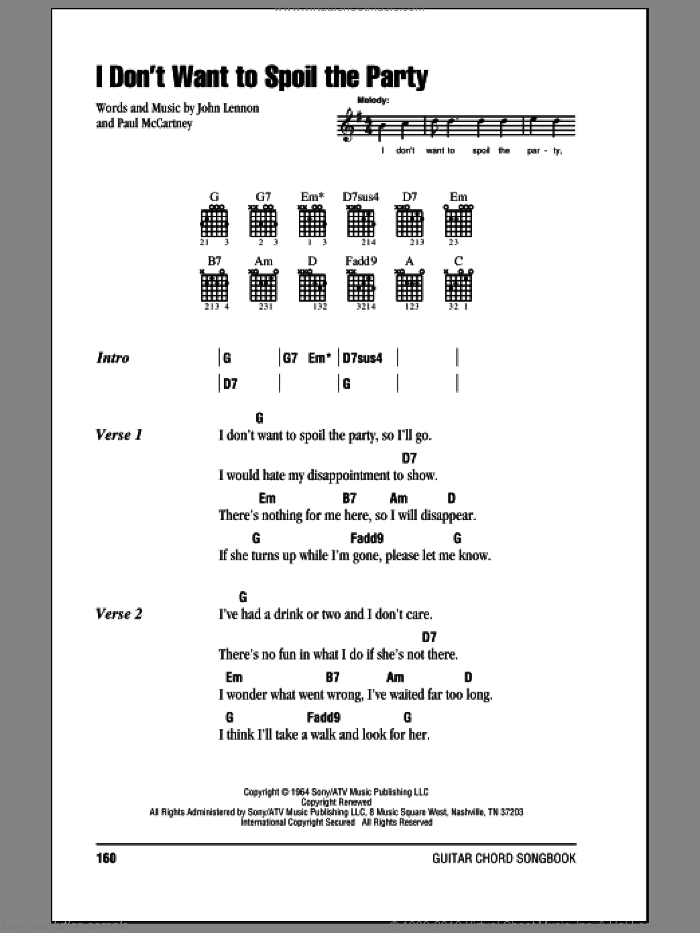 I Don't Want To Spoil The Party sheet music for guitar (chords) by Paul McCartney, The Beatles and John Lennon. Score Image Preview.