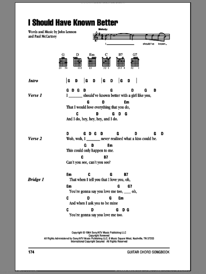 I Should Have Known Better sheet music for guitar (chords) by Paul McCartney, The Beatles and John Lennon. Score Image Preview.