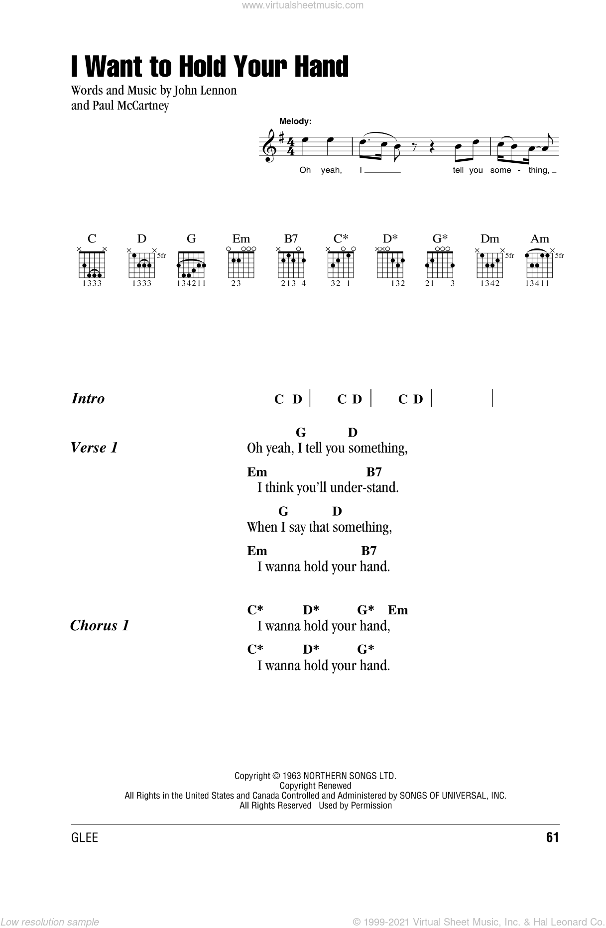 I Want To Hold Your Hand sheet music for guitar (chords) by The Beatles, John Lennon and Paul McCartney, intermediate guitar (chords). Score Image Preview.