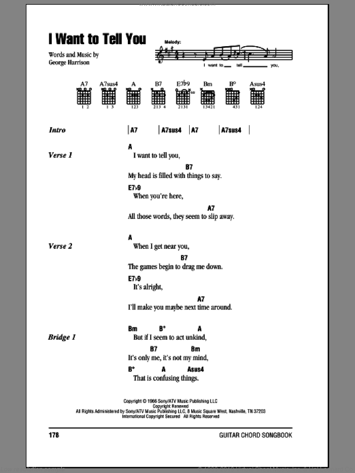 I Want To Tell You sheet music for guitar (chords) by The Beatles and George Harrison. Score Image Preview.