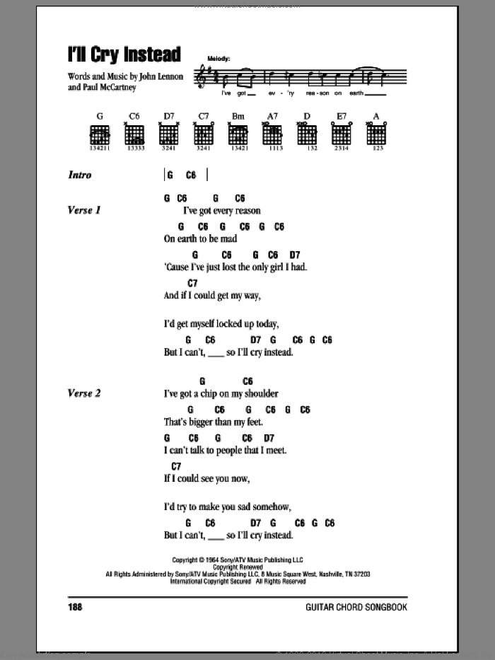 I'll Cry Instead sheet music for guitar (chords) by The Beatles, John Lennon and Paul McCartney. Score Image Preview.