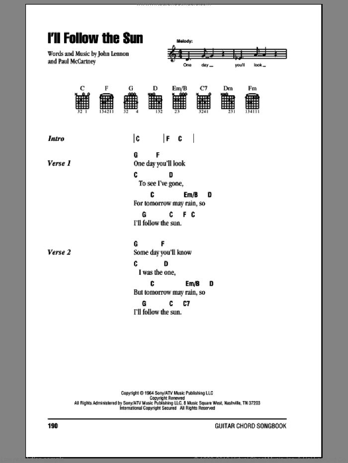 I'll Follow The Sun sheet music for guitar (chords) by The Beatles, John Lennon and Paul McCartney, intermediate. Score Image Preview.