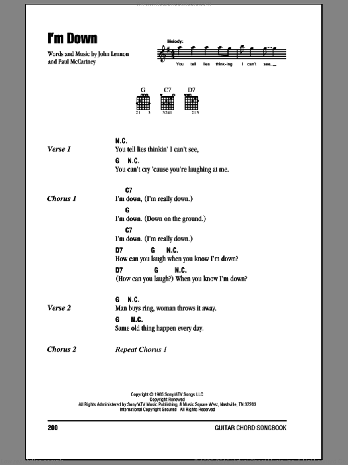I'm Down sheet music for guitar (chords) by The Beatles, John Lennon and Paul McCartney, intermediate