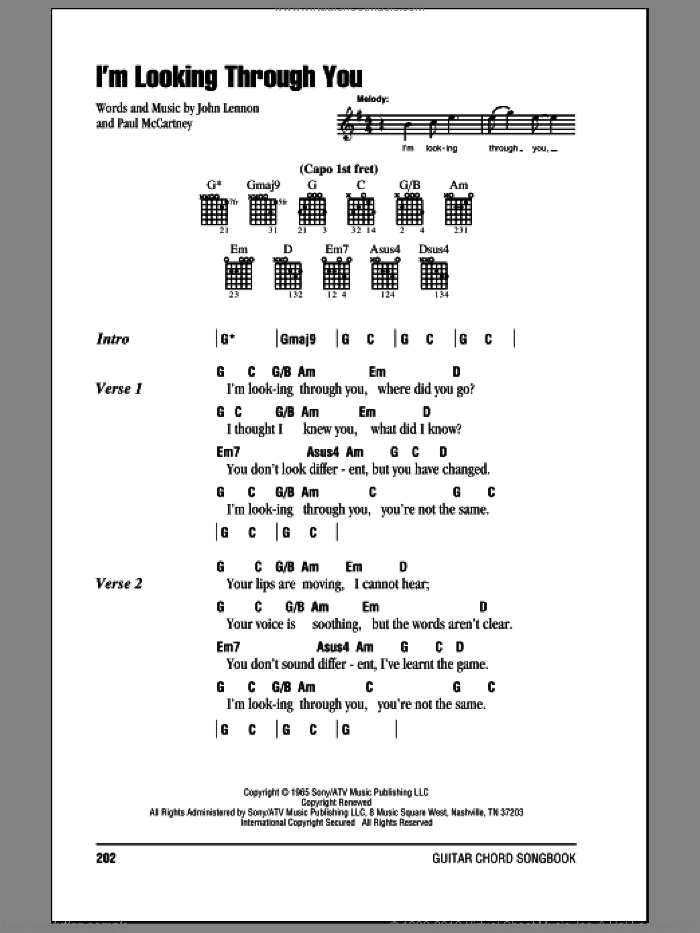 I'm Looking Through You sheet music for guitar (chords) by Paul McCartney, The Beatles and John Lennon. Score Image Preview.