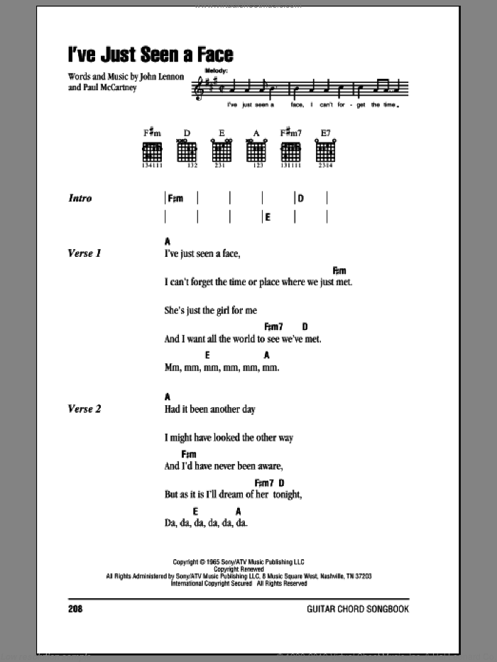 I've Just Seen A Face sheet music for guitar (chords) by The Beatles, John Lennon and Paul McCartney. Score Image Preview.