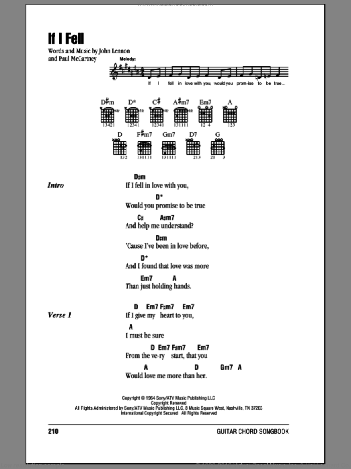 If I Fell sheet music for guitar (chords) by The Beatles, John Lennon and Paul McCartney. Score Image Preview.