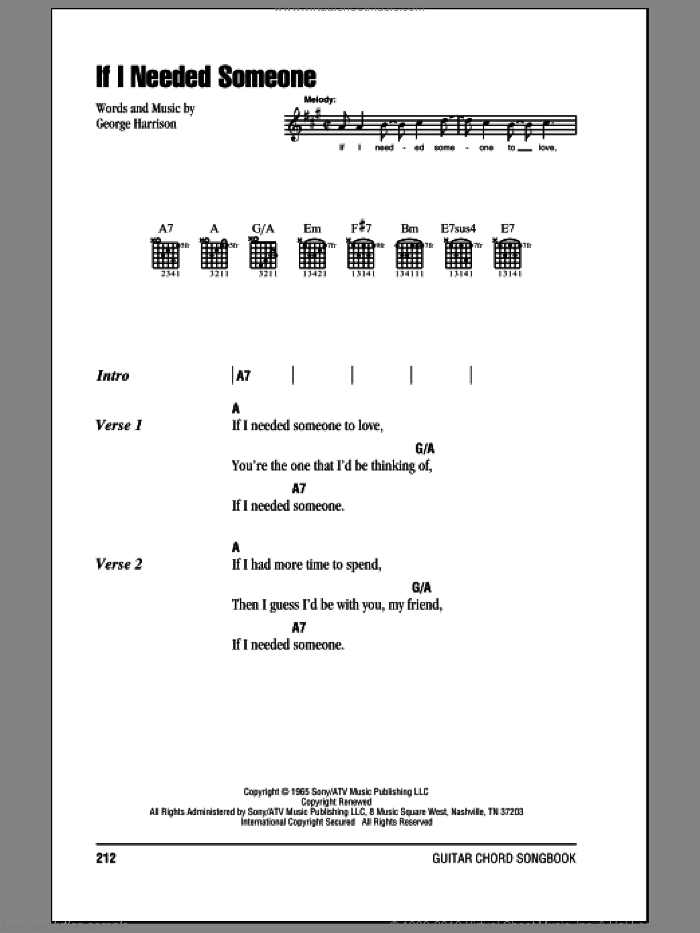 If I Needed Someone sheet music for guitar (chords) by The Beatles and George Harrison, intermediate skill level