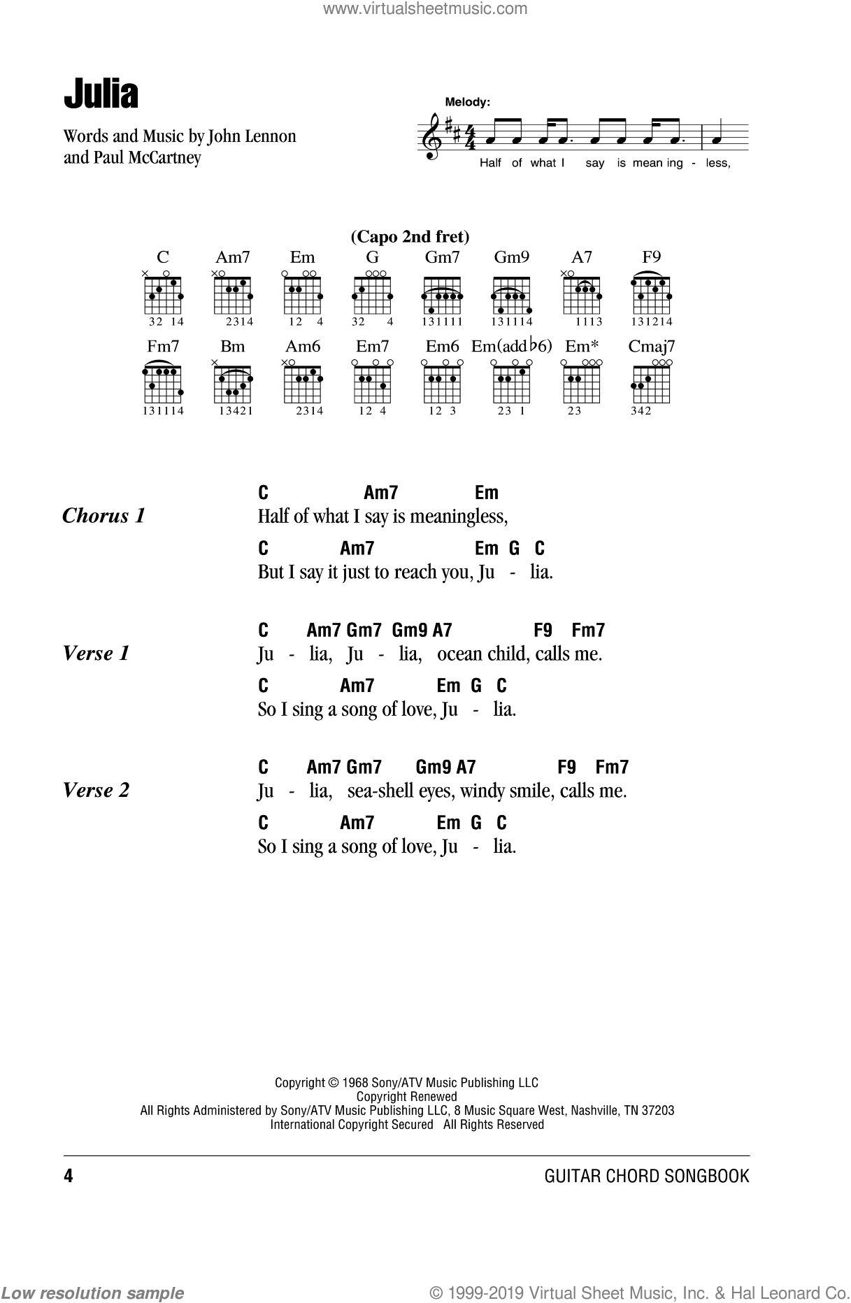Julia sheet music for guitar (chords) by Paul McCartney, The Beatles and John Lennon. Score Image Preview.