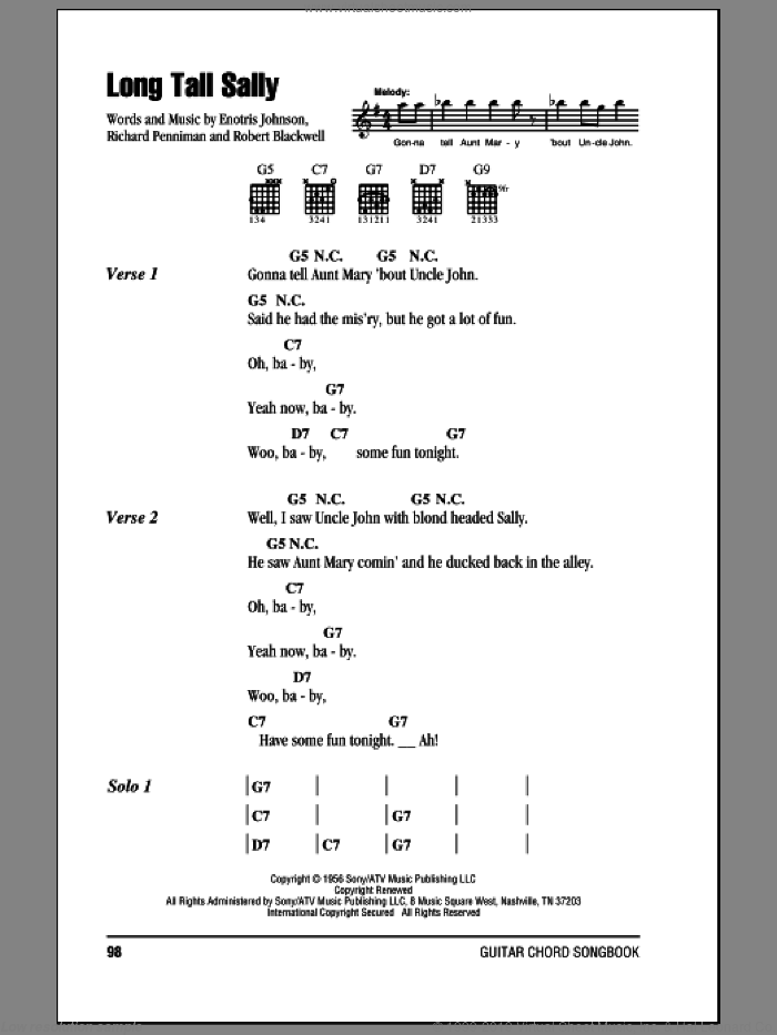 Long Tall Sally sheet music for guitar (chords) by The Beatles, Little Richard, Enotris Johnson, Richard Penniman and Robert Blackwell, intermediate skill level