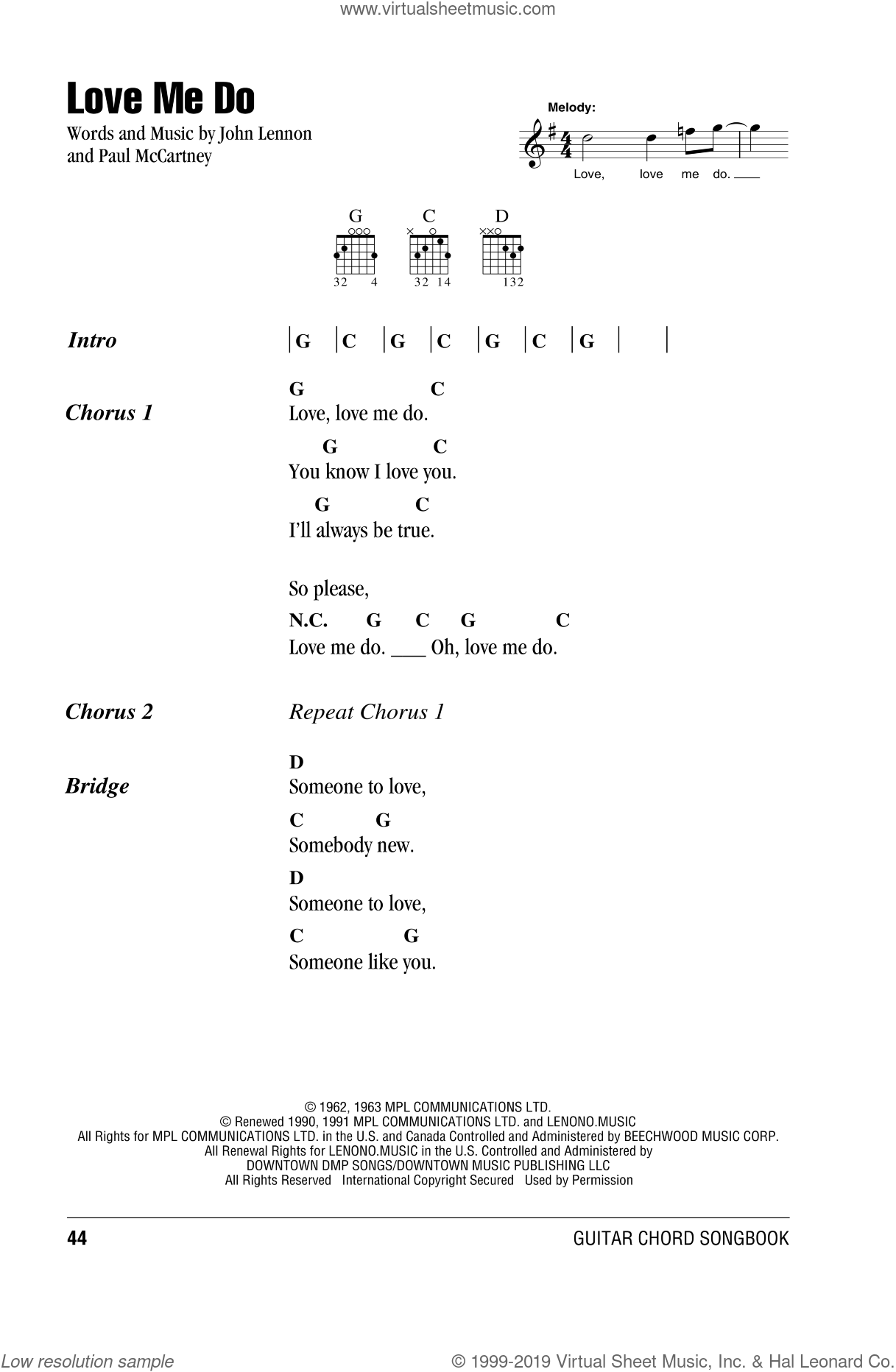 Love Me Do sheet music for guitar (chords) by The Beatles, John Lennon and Paul McCartney, intermediate skill level