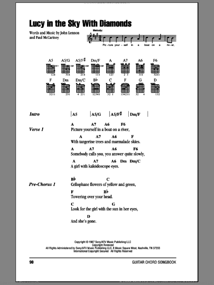 Lucy In The Sky With Diamonds sheet music for guitar (chords) by The Beatles, Elton John, John Lennon and Paul McCartney, intermediate
