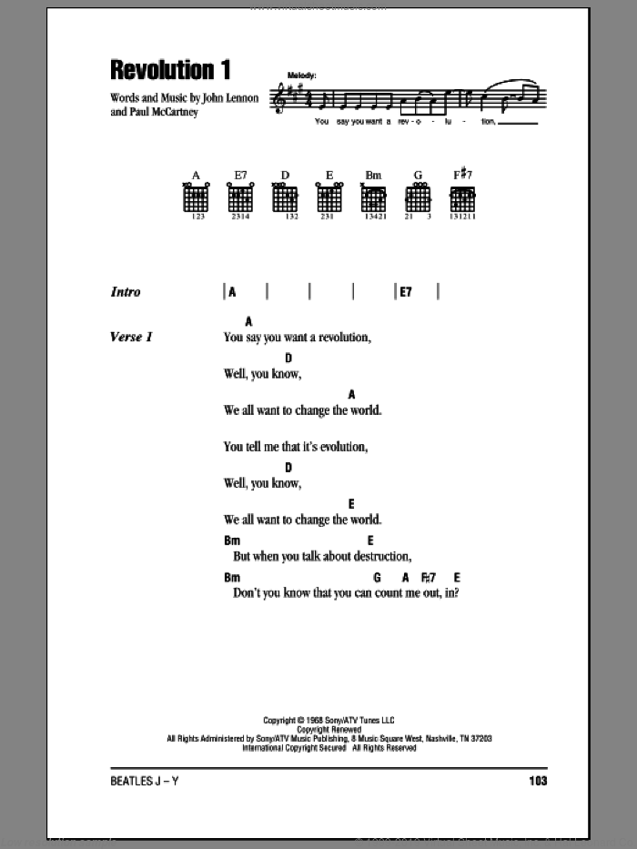 Revolution 1 sheet music for guitar (chords) by The Beatles, John Lennon and Paul McCartney, intermediate guitar (chords). Score Image Preview.