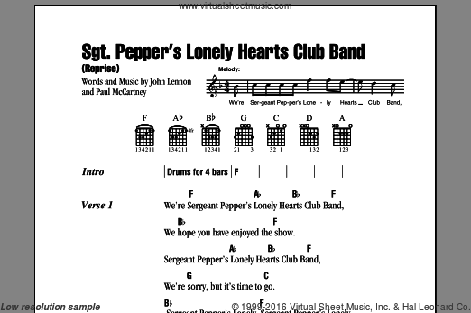 Sgt. Pepper's Lonely Hearts Club Band (Reprise) sheet music for guitar (chords) by Paul McCartney, The Beatles and John Lennon. Score Image Preview.