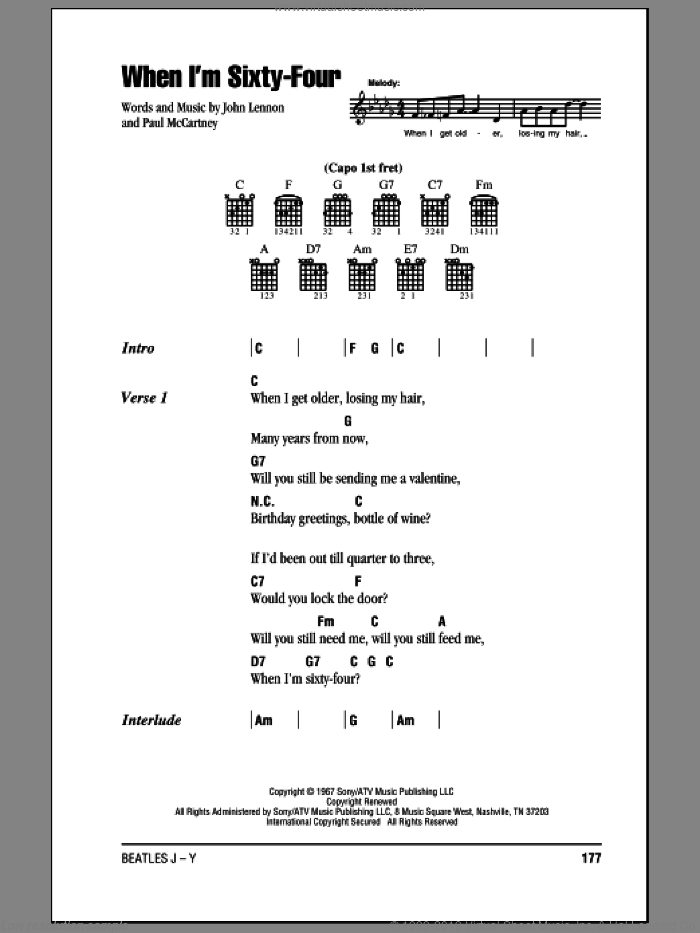 When I'm Sixty-Four sheet music for guitar (chords) by The Beatles, John Lennon and Paul McCartney, intermediate guitar (chords). Score Image Preview.