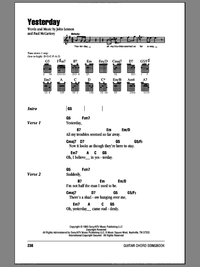 Yesterday sheet music for guitar (chords) by Paul McCartney, The Beatles and John Lennon. Score Image Preview.