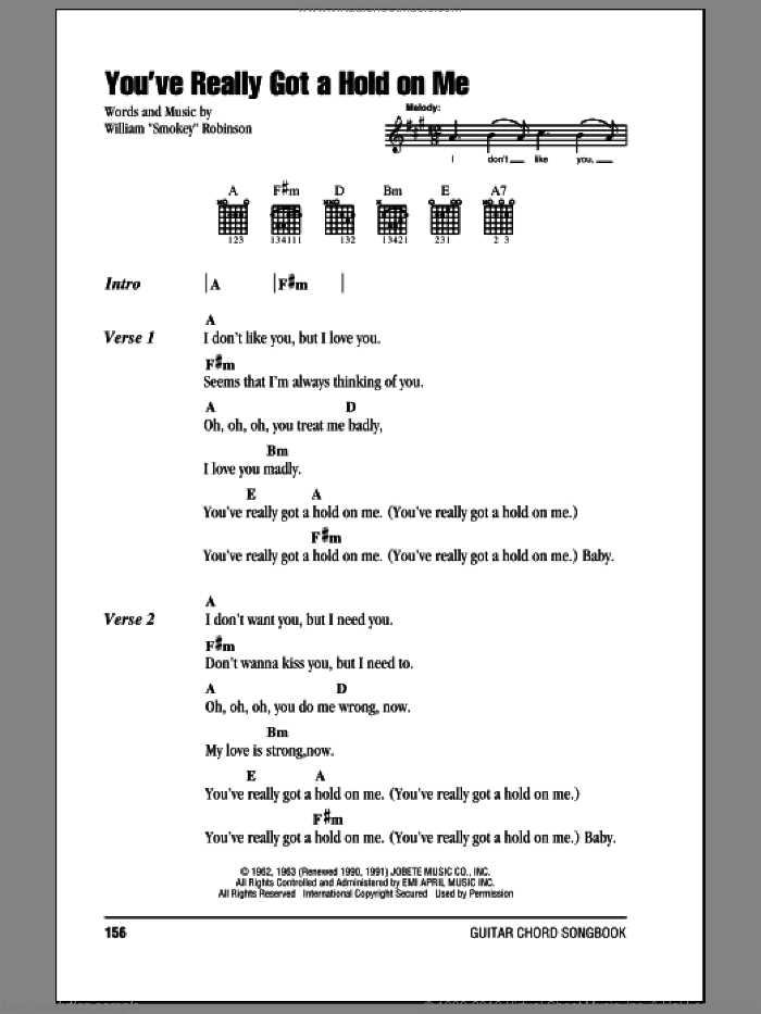 You've Really Got A Hold On Me sheet music for guitar (chords) by Smokey Robinson & The Miracles and The Beatles, intermediate. Score Image Preview.