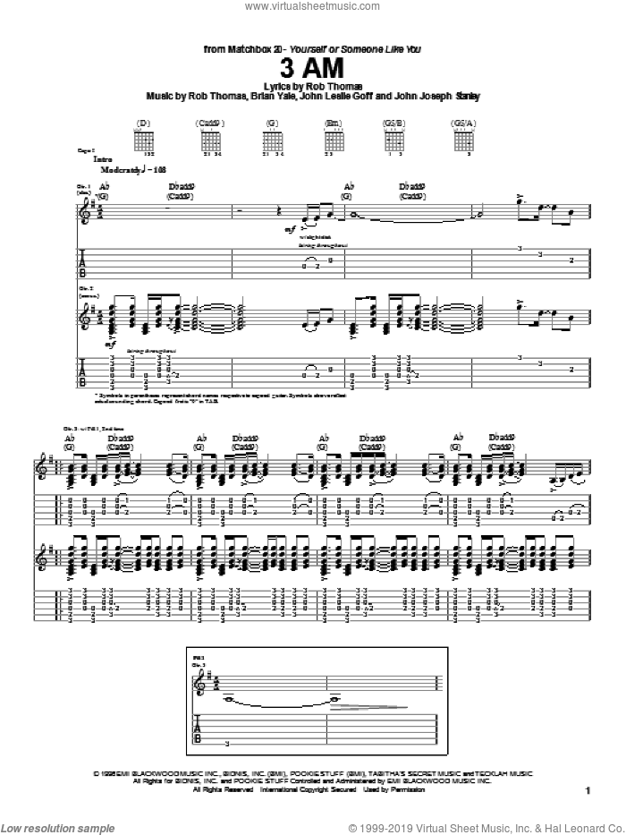 3 AM sheet music for guitar (tablature) by Rob Thomas, Matchbox Twenty and Brian Yale. Score Image Preview.