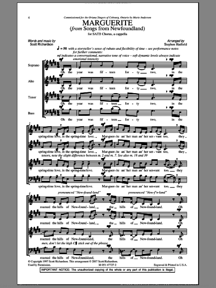 Marguerite sheet music for choir (SATB: soprano, alto, tenor, bass) by Stephen Hatfield and Traditional Newfoundland Folk, intermediate skill level