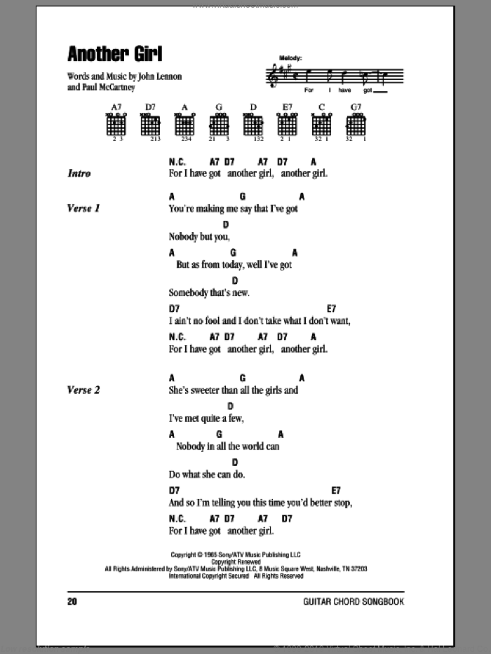 Another Girl sheet music for guitar (chords) by The Beatles, John Lennon and Paul McCartney, intermediate. Score Image Preview.