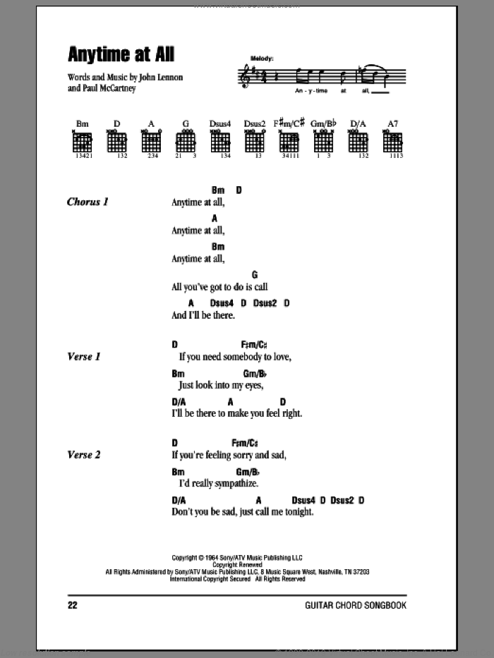 Anytime At All sheet music for guitar (chords) by The Beatles, John Lennon and Paul McCartney, intermediate. Score Image Preview.