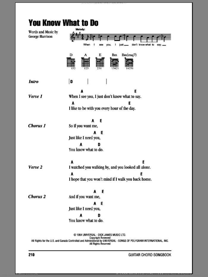 You Know What To Do sheet music for guitar (chords) by The Beatles and George Harrison, intermediate guitar (chords). Score Image Preview.