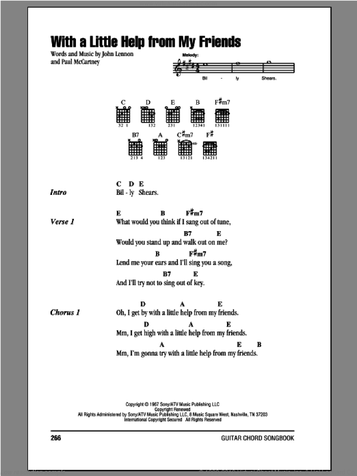 With A Little Help From My Friends sheet music for guitar (chords) by Paul McCartney, Joe Cocker, The Beatles and John Lennon. Score Image Preview.