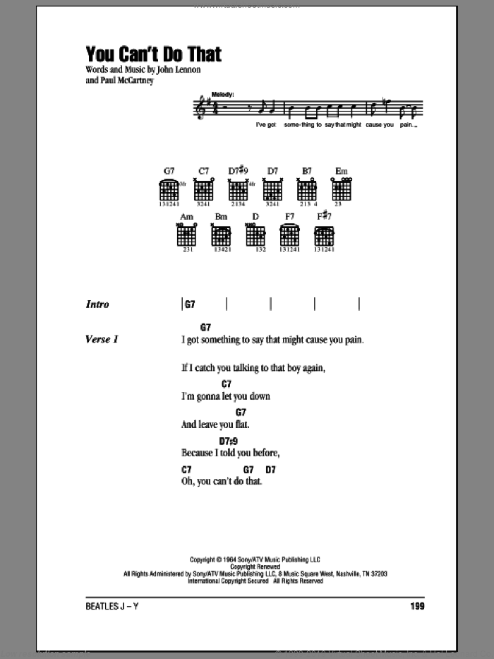 You Can't Do That sheet music for guitar (chords) by Paul McCartney, The Beatles and John Lennon. Score Image Preview.