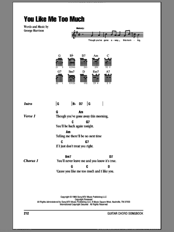 You Like Me Too Much sheet music for guitar (chords) by The Beatles and George Harrison, intermediate skill level