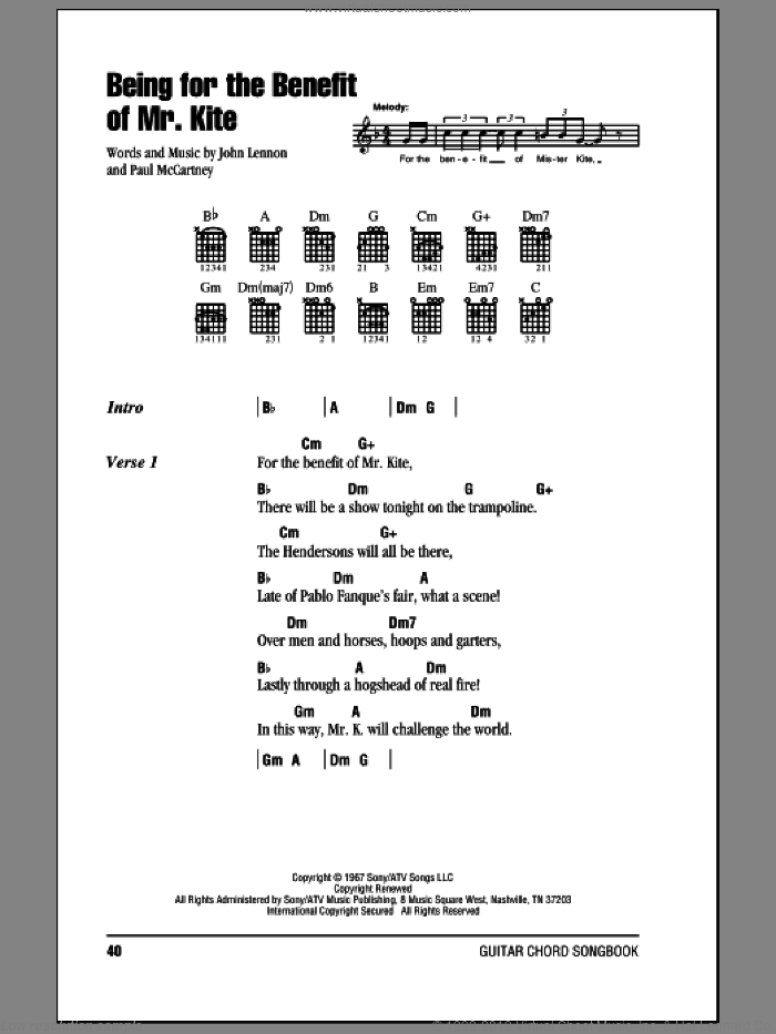 Being For The Benefit Of Mr. Kite sheet music for guitar (chords) by The Beatles, John Lennon and Paul McCartney, intermediate skill level