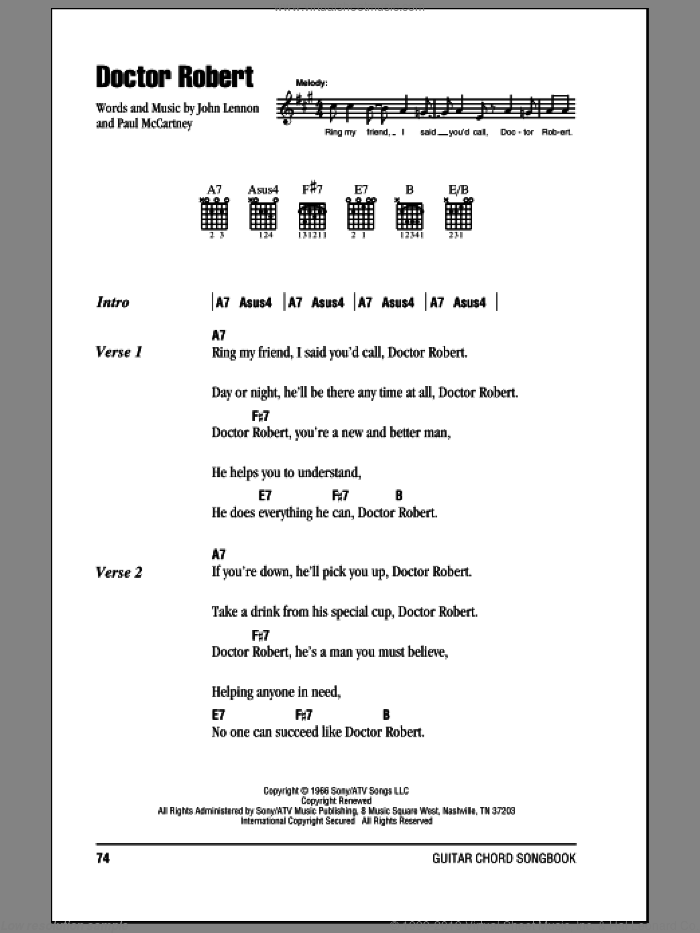 Doctor Robert sheet music for guitar (chords) by Paul McCartney, The Beatles and John Lennon. Score Image Preview.