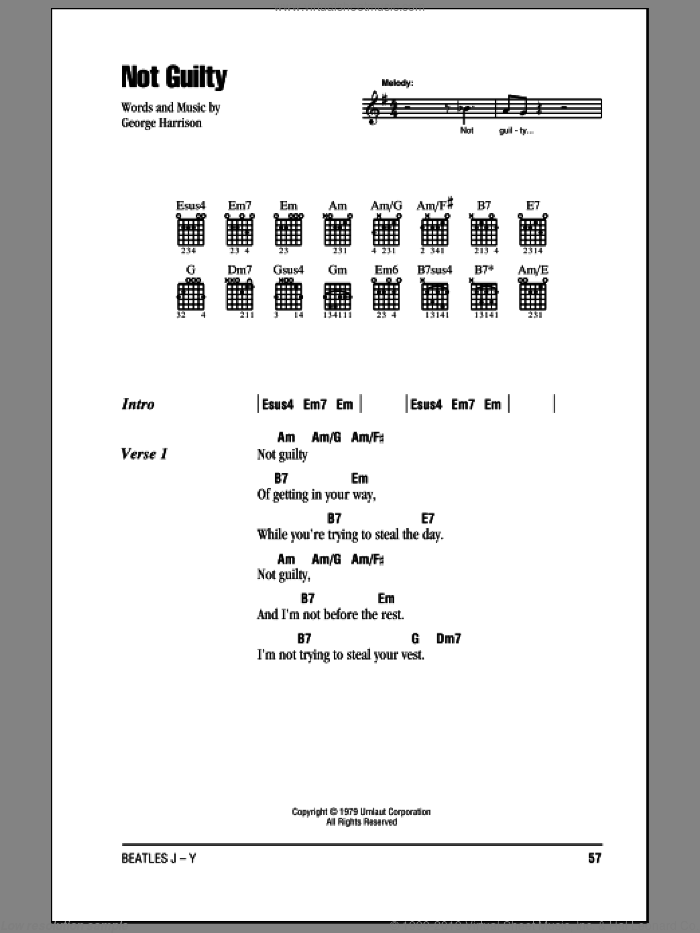 Beatles Not Guilty Sheet Music For Guitar Chords Pdf