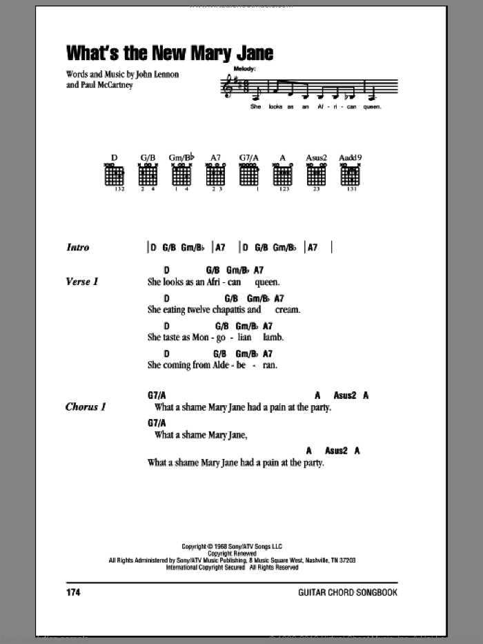 What's The New Mary Jane sheet music for guitar (chords) by Paul McCartney, The Beatles and John Lennon. Score Image Preview.