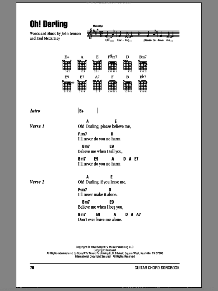 Oh! Darling sheet music for guitar (chords) by The Beatles, John Lennon and Paul McCartney, intermediate guitar (chords). Score Image Preview.