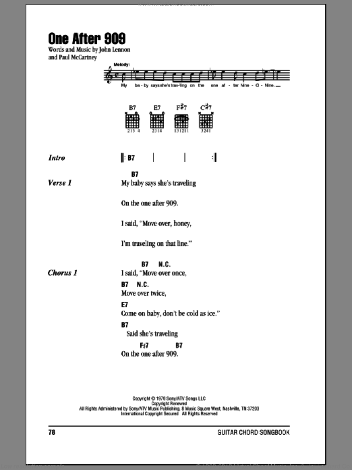 Beatles - One After 909 sheet music for guitar (chords) [PDF]