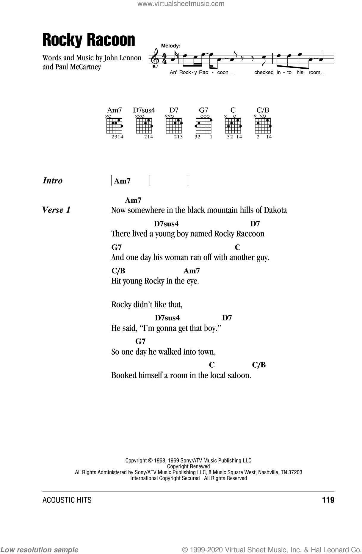 Rocky Raccoon sheet music for guitar (chords) by Paul McCartney, The Beatles and John Lennon. Score Image Preview.