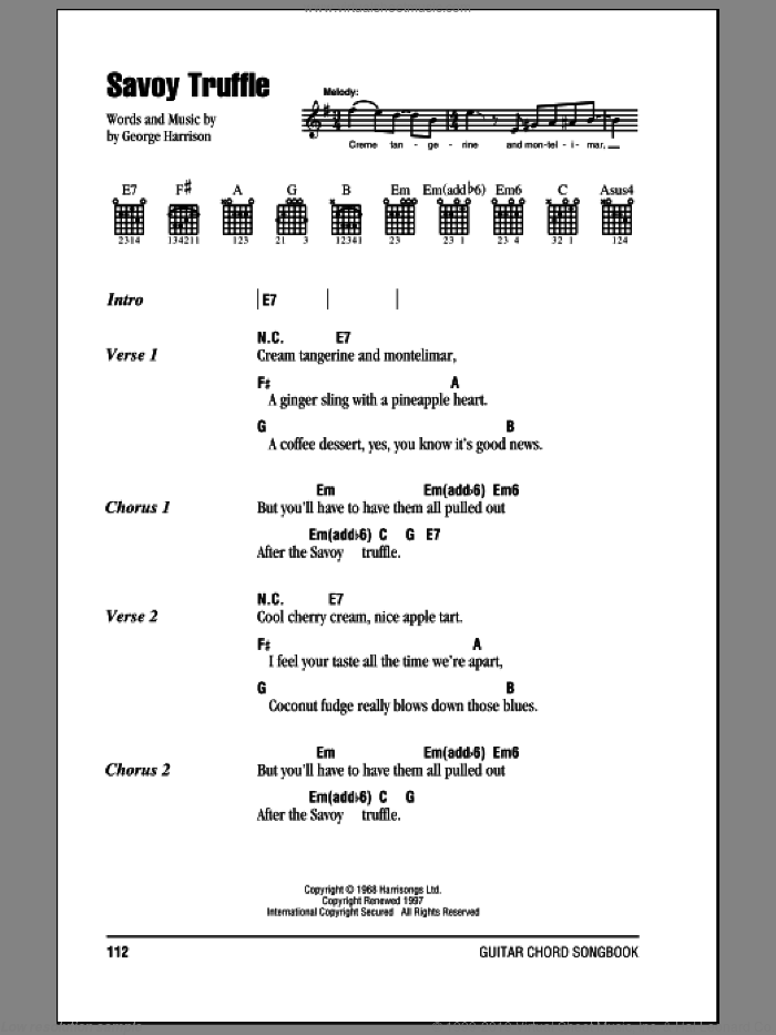 Savoy Truffle sheet music for guitar (chords) by George Harrison and The Beatles. Score Image Preview.